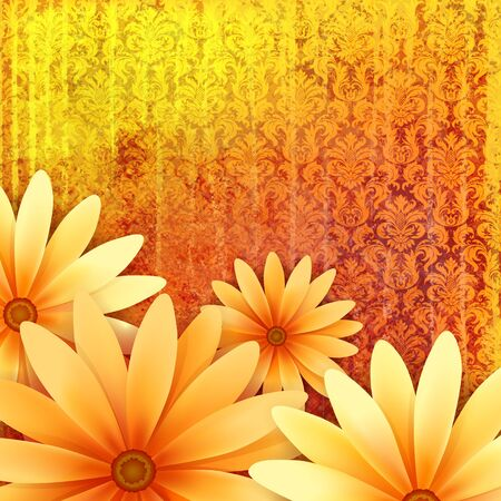 scrapbook frame: floral ornate grunge background with yellow daisy flowers at orange damask vintage pattern