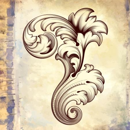 vintage baroque engraving floral scroll filigree design frame border acanthus pattern element at retro grunge background Illustration
