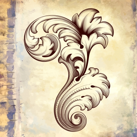 baroque background:  vintage baroque engraving floral scroll filigree design frame border acanthus pattern element at retro grunge background Illustration