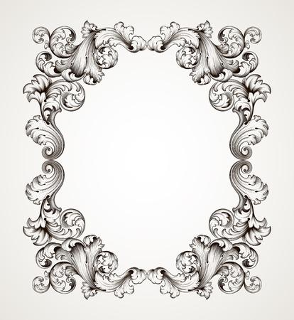 고대 바로크 스타일 장식 디자인의 복고풍 장식 패턴 벡터 빈티지 테두리 프레임 조각