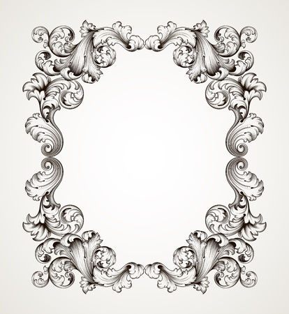 baroque pattern: vector vintage border  frame engraving  with retro ornament pattern in antique baroque style decorative design