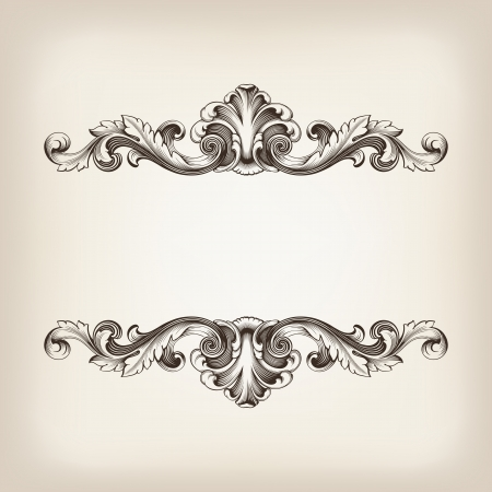 골동품 바로크 스타일의 복고풍 장식 패턴으로 빈티지 테두리 프레임 선조 조각 화려한 장식 골동품 서예 디자인
