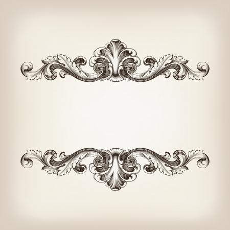 barocco: vintage frame incisione confine filigrana con ornamento retr� in antico stile barocco ornato, disegno, calligrafia antica Vettoriali