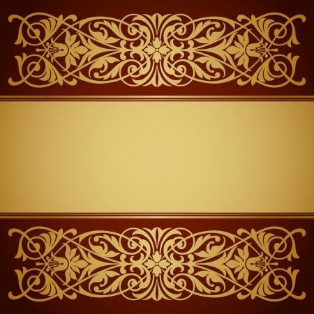 Vecteur vintage frame frontière avec filigrane d'or ornement rétro style antique orné baroque design décoratif fond calligraphie antique Banque d'images - 17749550