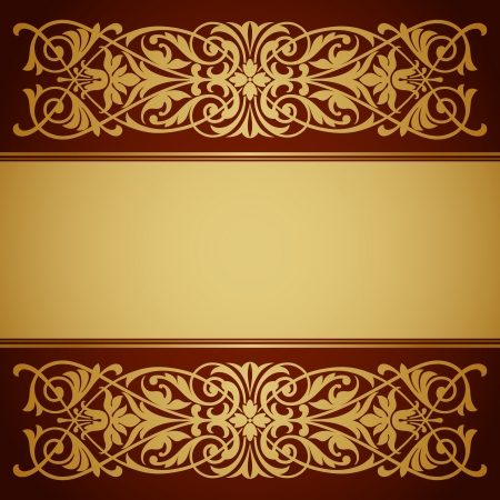 vector vintage gold border frame filigree with retro ornament pattern in antique baroque style ornate decorative background antique calligraphy design   Vector