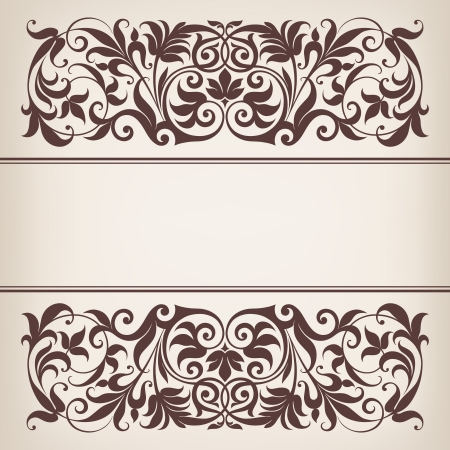vintage ornate border frame filigree with retro ornament pattern in antique baroque style arabic decorative calligraphy design