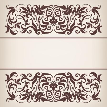 vintage sierlijke grens frame filigraan met retro ornament patroon in antieke barok stijl arabische decoratieve kalligrafie ontwerp Stock Illustratie