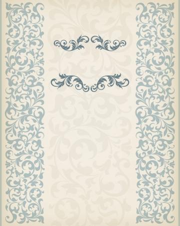 vector vintage ornate border frame filigree with retro ornament pattern in antique baroque style arabic decorative calligraphy design