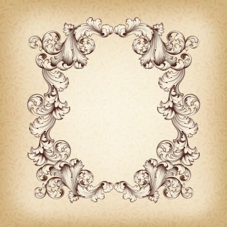 acanto: vendimia borde del marco grabado con el patr�n ornamento retro antiguo dise�o decorativo barroco