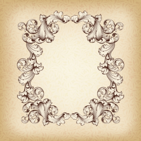 vintage border  frame engraving  with retro ornament pattern in antique baroque style decorative design Imagens - 18881965