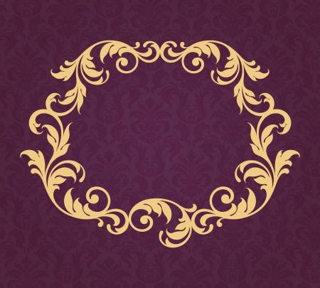 vintage gold border frame filigree with retro ornament pattern