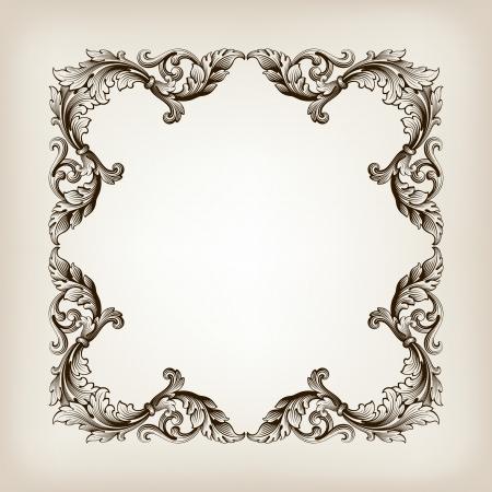 vintage border  frame filigree engraving  with retro ornament pattern Illustration