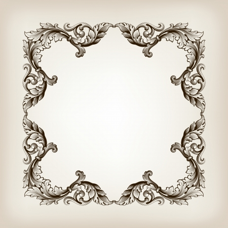 vintage border  frame filigree engraving  with retro ornament pattern Vettoriali