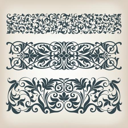 ベクトル セット ビンテージ装飾境界線フレーム フィリグリー レトロな装飾パターンとアンティークのバロック様式のアラビアの装飾的な書道のデ  イラスト・ベクター素材