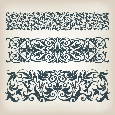 arabe: vector set vintage frame de fronti�re fleurie filigrane avec ornement r�tro en arabe conception de calligraphie d�corative antique baroque de style