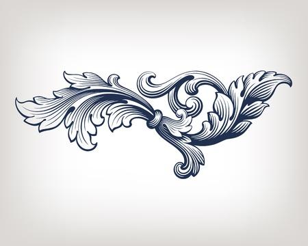 vintage Baroque scroll design frame pattern element engraving retro style
