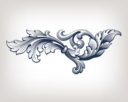 schriftrolle: vintage Barock Rolleentwurf frame pattern Element gezeichnet Retro-Stil Illustration
