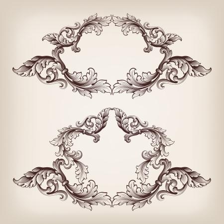 벡터 앤티크 스타일의 복고풍 장식 패턴으로 빈티지 테두리 프레임 바로크 선조 조각을 설정 화려한 장식 서예 디자인