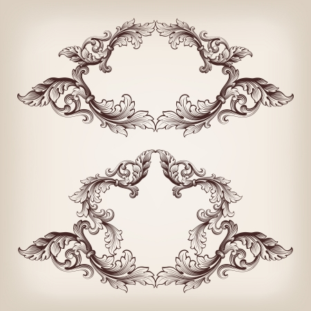 Set vector frontière vintage cadre en filigrane baroque gravure avec motif ornement rétro au style antique orné de calligraphies décoratives style Banque d'images - 20982884