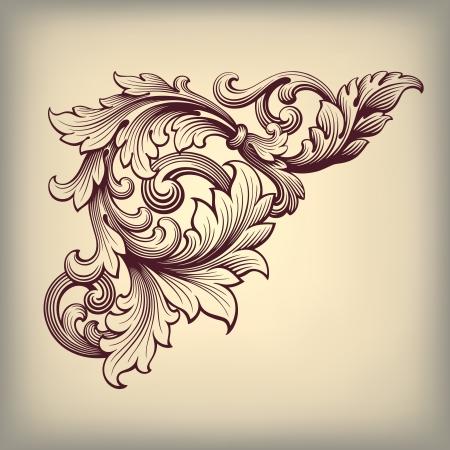 벡터 빈티지 바로크 스크롤 디자인 프레임 코너 패턴 요소 복고풍 스타일의 장식 조각 술