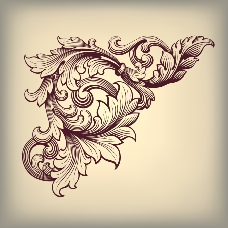 acanthus: vector vintage Baroque scroll design frame corner pattern element engraving retro style ornament