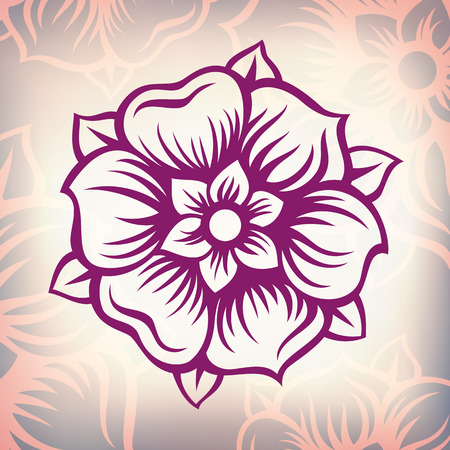 vector vintage engraving flower Baroque floral design pattern element retro style ornament