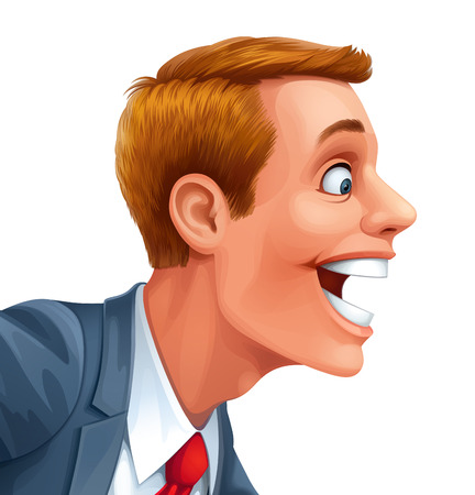 Young man excited surprised happy Vector