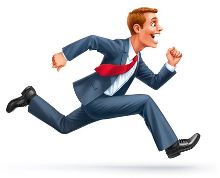 running young businessman excited surprised happy