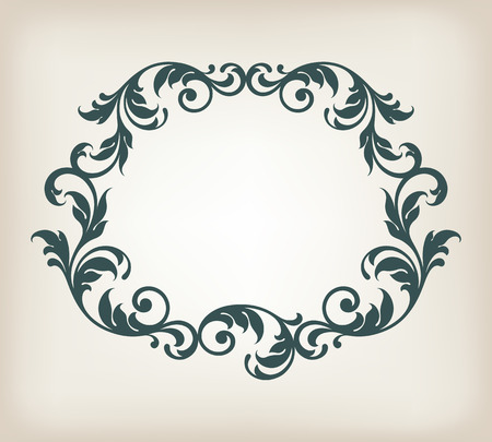 vintage border frame filigree with retro ornament pattern  Illustration
