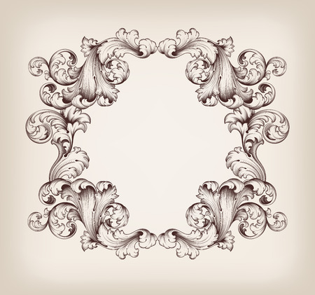 vintage border  frame engraving  with retro ornament pattern