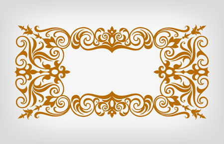 vector vintage ornate border frame filigree with retro ornament pattern in antique baroque style arabic decorative calligraphy design   Vector