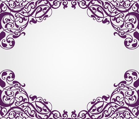vector vintage Baroque scroll design frame border corner pattern element engraving retro style ornament Vector