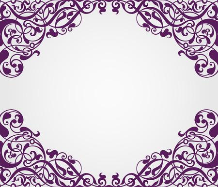 vector vintage Baroque scroll design frame border corner pattern element engraving retro style ornament Çizim