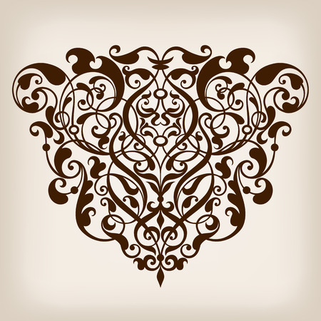 vector vintage Baroque scroll design frame border corner pattern element engraving retro style ornament Ilustração