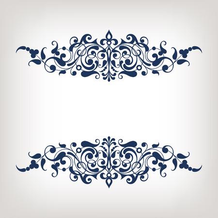 골동품 바로크 스타일 아랍어 장식 서예 디자인 복고풍 장식 패턴 벡터 빈티지 화려한 테두리 프레임 선조
