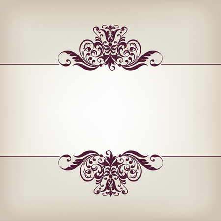 vector vintage ornate border frame filigree with retro ornament pattern in antique baroque style Stok Fotoğraf - 27667565