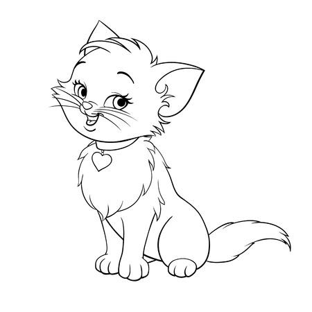 chaton en dessin anim�: heureux mignon de bande dessin�e d'amusement de chaton souriant Illustration