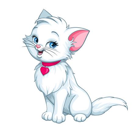 gato caricatura: Vector blanco feliz divertido lindo de la historieta gatito gato carácter sonriente con rojo rosa ilustración de corazón aislado en el fondo blanco