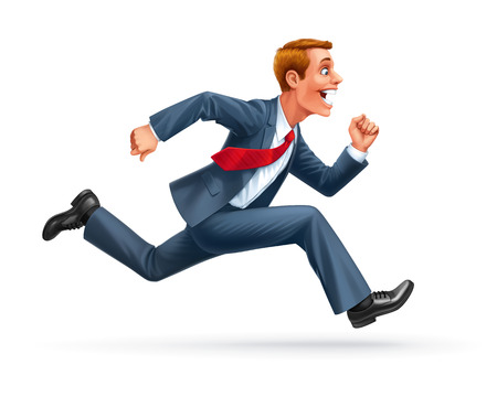 running young businessman cartoon wow excited surprised happy amazed smile vector