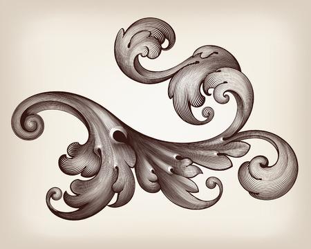 vintage Baroque scroll design frame engraving  acanthus floral border pattern element retro style filigree vector Çizim