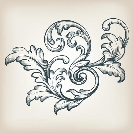 vintage Baroque scroll design frame engraving  acanthus floral border pattern element retro style filigree vector Vectores