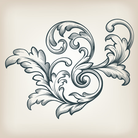 vintage Baroque scroll design frame engraving  acanthus floral border pattern element retro style filigree vector Çizim