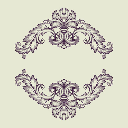 vintage Baroque scroll design frame engraving  acanthus floral border pattern element retro style filigree vector Vettoriali