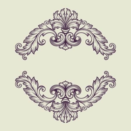 vintage barokke scroll design frame graveren acanthus bloemen grens patroon element retro stijl filigraan vector