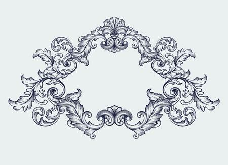 vintage Baroque scroll design frame Vectores