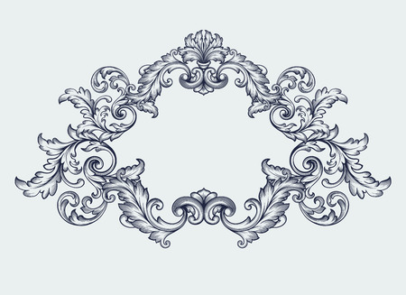 vintage Baroque scroll design frame Ilustracja