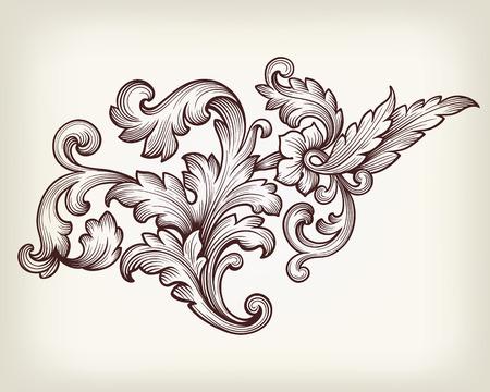 Vintage baroque floral scroll foliage ornament filigree engraving retro style design element vector  イラスト・ベクター素材