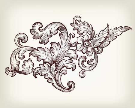 Vintage baroque floral scroll foliage ornament filigree engraving retro style design element vector Vettoriali