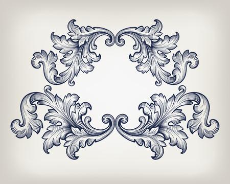Archiwalne barokowy ornament grawerowanie ramka granicy przewiń retro wzór antyczny styl dekoracyjny element wektora