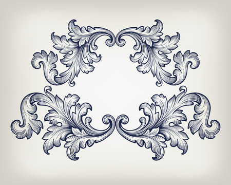 Vintage baroque frame scroll ornament engraving border retro pattern antique style decorative design element vector